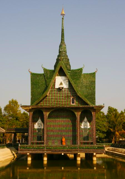 Thai Buddhist Temple Built of Beer Bottles